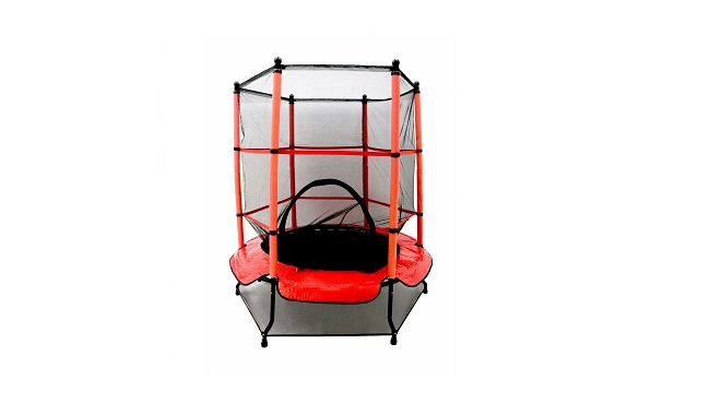 Opla 55 Kids First Trampoline with safety net enclosure and red cover garden outdoors