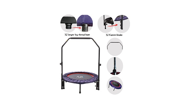 Pleny Indoor Mini Fitness Trampoline With Handle, 2-In-1 Lean Aerobic Exercise Rebounder