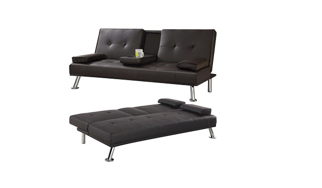 Yaheetech 3 Seater Faux Leather Sofa Bed