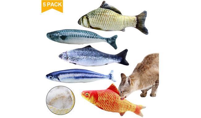 Natuce 5pcs Catnip Fish Toys For Cat