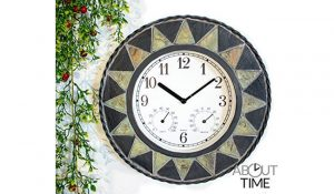 About Time Slate Effect Patterned Outdoor Garden Clock