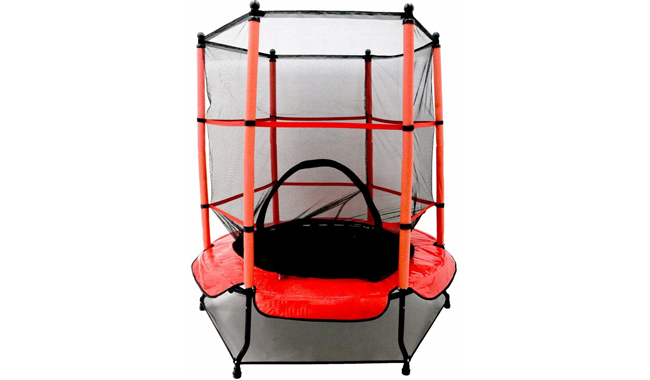 """Opla 55 """"Kids First Trampoline with safety net enclosure and red cover garden outdoors"""