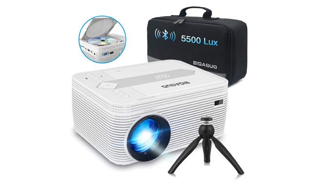 BIGASUO Mini Bluetooth Projector