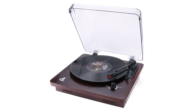 dl DL639PW Portable Wooden Suitcase Turntable