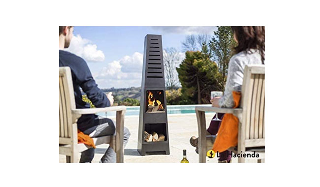 La Hacienda Skyline Black Steel Garden Chiminea