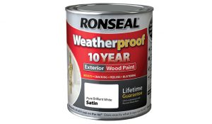 Ronseal Weatherproof 10 Year Exterior Wood Paint Brilliant White Satin 750 ml