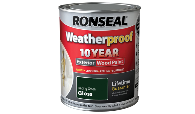 Ronseal Weatherproof 10 Year Exterior Wood Paint Racing Green Gloss 750 ml